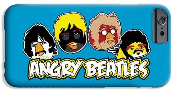 Mccartney Drawings iPhone Cases - Angry Beatles - Angry Birds Angry Birds Parody iPhone Case by Paul Telling