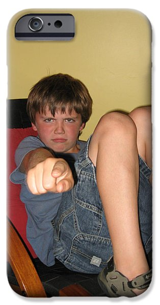 Angry Boy Pointing the Accusing Finger iPhone Case by Christopher Purcell