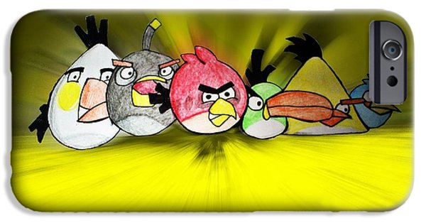 Cartoon Birds iPhone Cases - Angry iPhone Case by Sharon Lisa Clarke