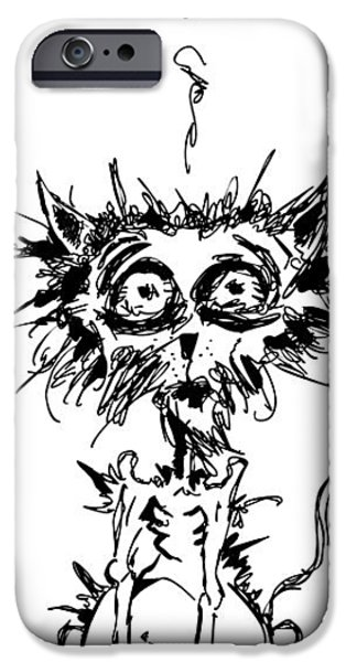 Cats iPhone Cases - Angst Cat iPhone Case by Nicholas Ely