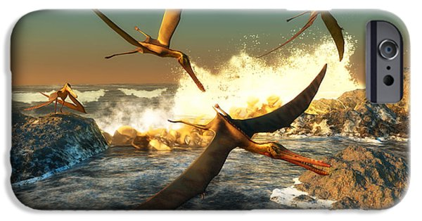 Triassic iPhone Cases - Anhanguera Fishing iPhone Case by Corey Ford
