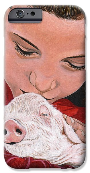 Piglets Paintings iPhone Cases - Animal Protector iPhone Case by Twyla Francois