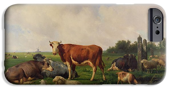 Farm Fields Paintings iPhone Cases - Animals Grazing in a Meadow  iPhone Case by Hendrikus van de Sende Baachyssun