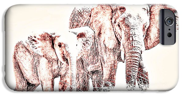 Elephant iPhone Cases - Animals Of The Rainbow Elephants iPhone Case by Aidan Moran