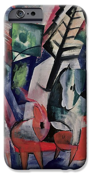 Pines iPhone Cases - Animals Under Trees iPhone Case by Franz Marc