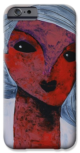 Outsider iPhone Cases - ANIMUS No. 80 iPhone Case by Mark M  Mellon