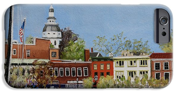 Pastel iPhone Cases - Annapolis Harbor iPhone Case by Mary Susan Vaughn