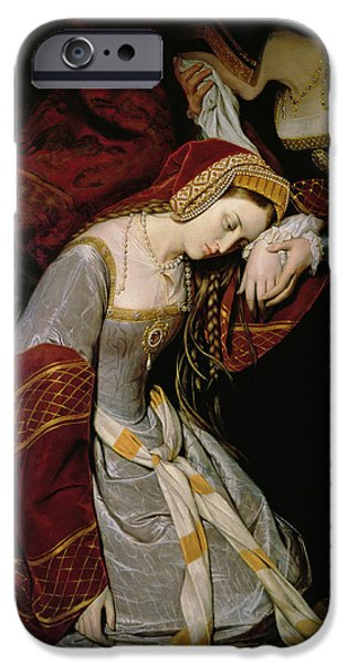 History iPhone Cases - Anne Boleyn in the Tower iPhone Case by Edouard Cibot