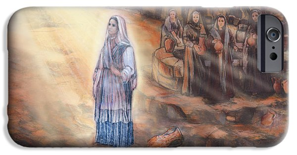 Jesus Drawings iPhone Cases - Annunciation of Our Lady iPhone Case by Terezia Sedlakova Wutzay