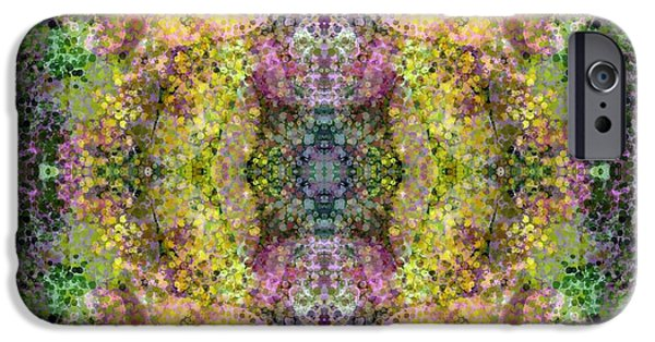 Abstract Digital Tapestries - Textiles iPhone Cases - Another Garden Walk iPhone Case by Suzi Freeman