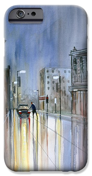 Wisconsin Paintings iPhone Cases - Another Rainy Night iPhone Case by Ryan Radke