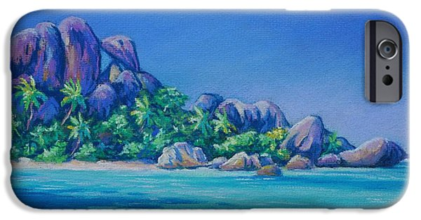 Trees Pastels iPhone Cases - Anse Source dArgent La Digue iPhone Case by John Clark