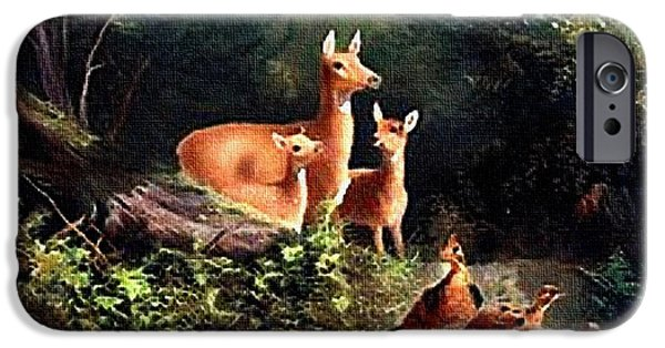 Business Pastels iPhone Cases - Antelope In the Forest  H A iPhone Case by Gert J Rheeders