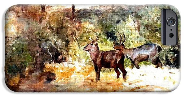 Abstract Digital Pastels iPhone Cases - Antelope Near A Stream - Wildlife Series Catus 1 no. 2 H A iPhone Case by Gert J Rheeders