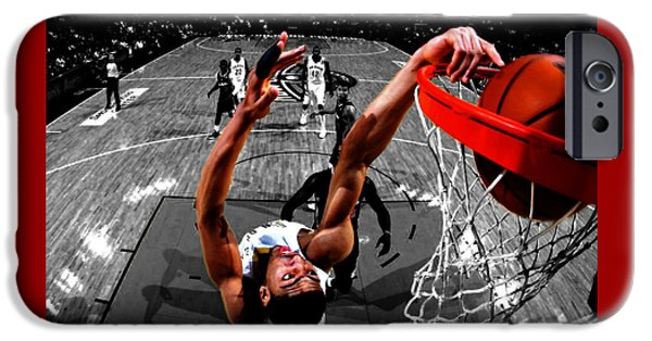 Dunk Mixed Media iPhone Cases - Anthony Davis iPhone Case by Brian Reaves