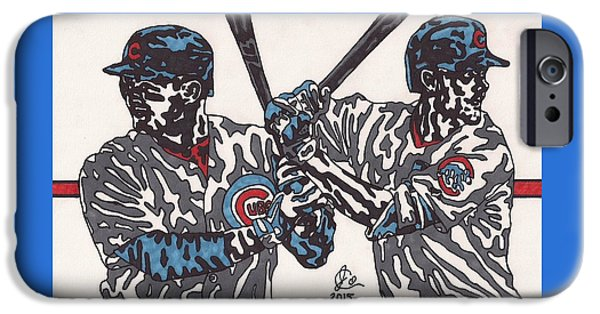 Bryant Drawings iPhone Cases - Anthony Rizzo and Chris Bryant iPhone Case by Jeremiah Colley