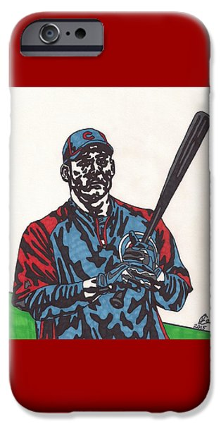 Chicago Cubs iPhone Cases - Anthony Rizzo iPhone Case by Jeremiah Colley