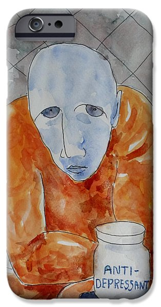 Psychiatry Paintings iPhone Cases - Anti-Depressant iPhone Case by Lucille Femine
