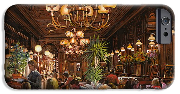 Waiter Paintings iPhone Cases - Antica Brasserie iPhone Case by Guido Borelli