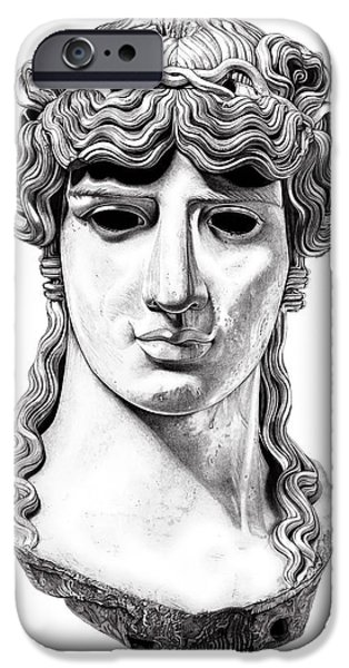 Bust Sculptures iPhone Cases - Antinous _ V1 iPhone Case by Bruce Algra