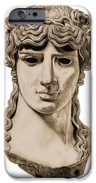 Bust Sculptures iPhone Cases - Antinous _ V3 iPhone Case by Bruce Algra
