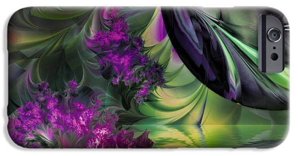 Fractal Paintings iPhone Cases - Antipodean Moonrise iPhone Case by Mindy Sommers