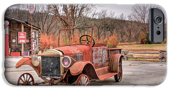 Arkansas iPhone Cases - Antique Car and Filling Station 1 iPhone Case by Douglas Barnett