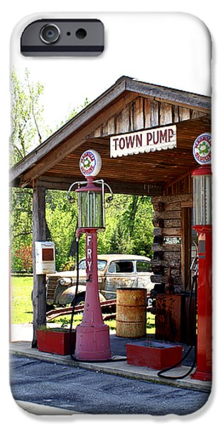 Antique Car and Filling Station 2 iPhone Case by Douglas Barnett