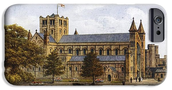 Antiques iPhone Cases - Antique Cars In Front Of Cathedral iPhone Case by Gillham Studios