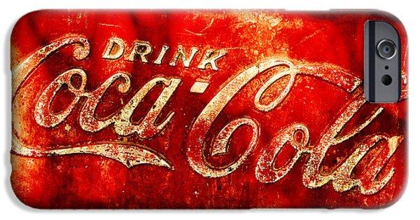 Coca-cola Signs iPhone Cases - Antique Coca-Cola Cooler iPhone Case by Stephen Anderson