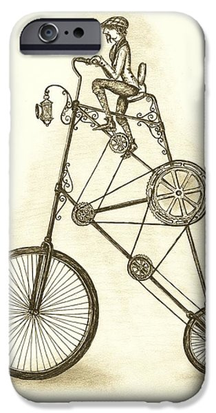 Sepia Ink Drawings iPhone Cases - Antique Contraption iPhone Case by Adam Zebediah Joseph