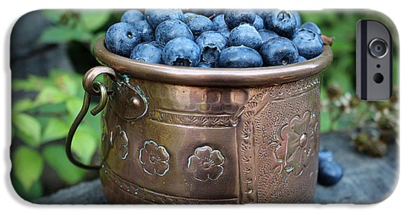 Berry iPhone Cases - Antique French Pot Full of Blueberries iPhone Case by Vicky Adams