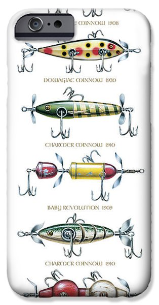 Tackle iPhone Cases - Antique Lure Panel iPhone Case by JQ Licensing