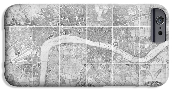 London Map iPhone Cases - Antique Map of London iPhone Case by John Rocque