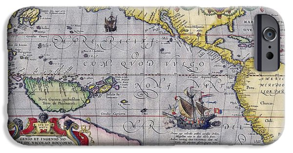 Antiques Drawings iPhone Cases - Antique Map Of The World By Abraham Ortelius - 1589 iPhone Case by Marianna Mills