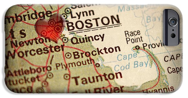 City. Boston iPhone Cases - Antique Map with a Heart over the city of Boston in Massachusett iPhone Case by ELITE IMAGE photography By Chad McDermott