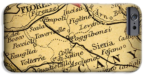 Charts iPhone Cases - Antique Map with a Heart over the city of Florence in Italy iPhone Case by ELITE IMAGE photography By Chad McDermott