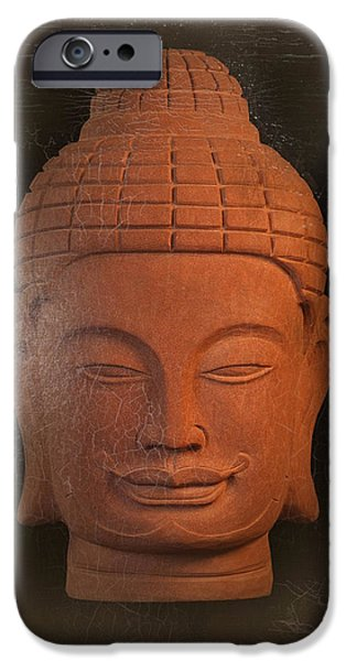 Tranquil Sculptures iPhone Cases - antique oil effect Buddha Khmer iPhone Case by Terrell Kaucher