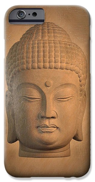 Tranquil Sculptures iPhone Cases - antique oil effect Buddha Korean , iPhone Case by Terrell Kaucher