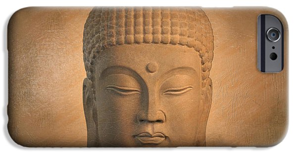 Tranquil Sculptures iPhone Cases - antique oil effect Buddha Korean iPhone Case by Terrell Kaucher