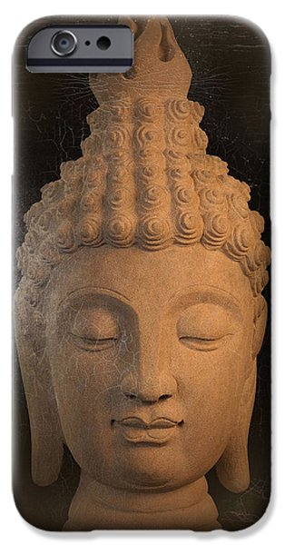 Tranquil Sculptures iPhone Cases - antique oil effect Buddha Sukhothai iPhone Case by Terrell Kaucher