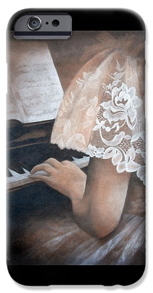 Sheets Drawings iPhone Cases - Antique Piano iPhone Case by Rachel Lawson