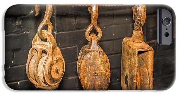 Work Tool Photographs iPhone Cases - Antique Pulleys iPhone Case by Paul Freidlund