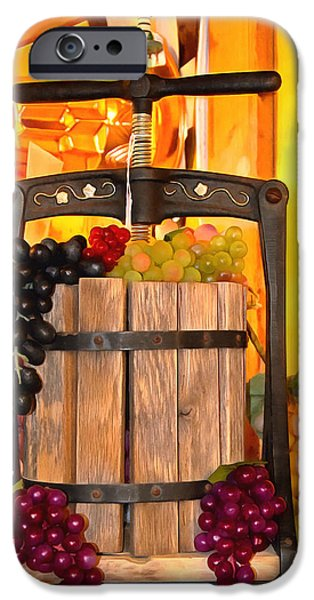 Vineyard Photograph iPhone Cases - Antique Store Wine Press 2 iPhone Case by Barbara Snyder