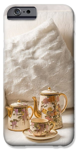 Antiques iPhone Cases - Antique Teaset On Sofa iPhone Case by Amanda And Christopher Elwell