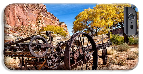 Rust iPhone Cases - Antique Wagon in the Desert iPhone Case by Kathleen Bishop