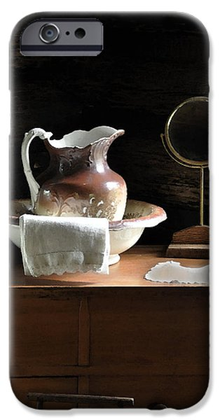 Bathroom Prints iPhone Cases - Antique Water Pitcher on Bureau iPhone Case by Rebecca Brittain