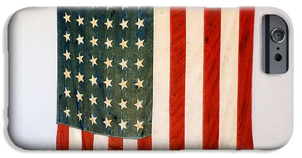 Old Glory iPhone Cases - Antique 48 Star American Flag  iPhone Case by Donald  Erickson