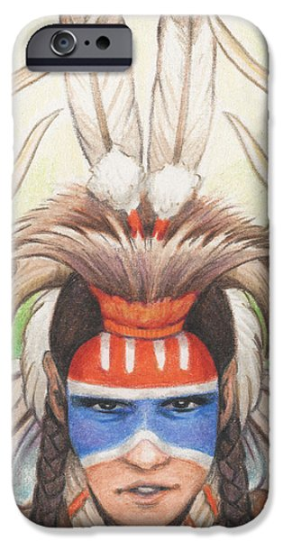 Aceo iPhone Cases - Antlered Warrior iPhone Case by Amy S Turner
