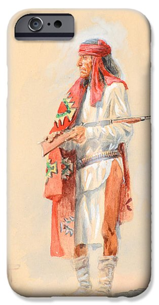 1907 Paintings iPhone Cases - Apache Warrior iPhone Case by Charles M Russell